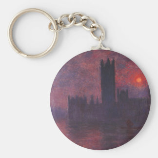 Monet Houses of Parliament at Sunset Basic Round Button Keychain