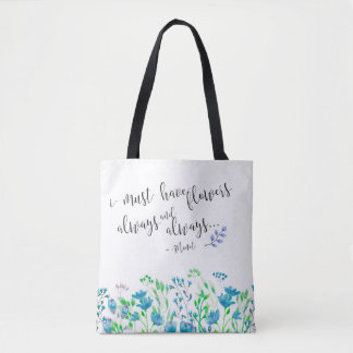 Monet I Must Have Flowers Always Blue Garden Tote Bag