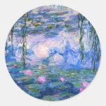 Monet - ilustraciones de los lirios de agua, 1919 pegatina redonda
