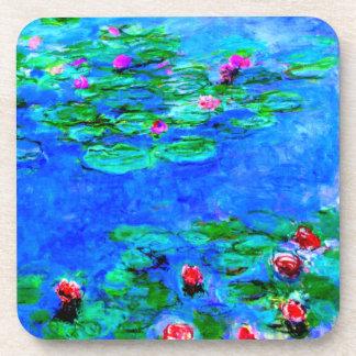 Monet: Ilustraciones del rojo de los lirios de agu Posavasos
