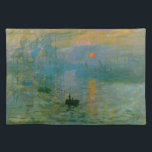 "Monet Impression Sunrise Cloth Placemat<br><div class=""desc"">Monet &quot;Impression, Sunrise&quot; Fine Art Image Placemat Monet painted this picture of the sun seen through mist at the harbour of Le Havre in the spring of 1872. Now in the public domain, quality prints of this beautiful artwork can now be offered to the public, and this one makes a...</div>"