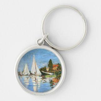 Monet Impressionism Boats Keychain