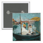 Monet in his Floating Studio, 1874 Pinback Button
