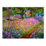 Monet Iris Garden Design with Pink Background Postcard