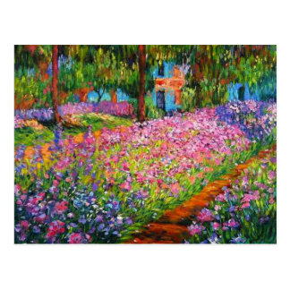 Monet Iris Garden Design with Pink Background Postcard