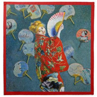 Monet - La Japonaise - arte impresionista francés Servilletas Imprimidas