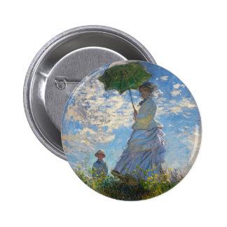 """Monet la mujer de la """"promenade"""" con un botón del  pin redondo de 2 pulgadas"""