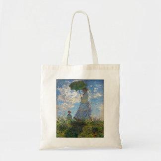 """Monet la mujer de la """"promenade"""" con un parasol bolsa tela barata"""