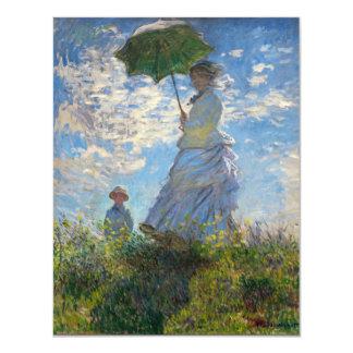 """Monet la mujer de la """"promenade"""" con un parasol invitación 4.25"""" x 5.5"""""""