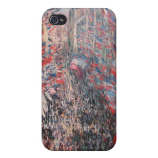 Monet - la ruda Montorgueil, pintura de París iPhone 4/4S Carcasas