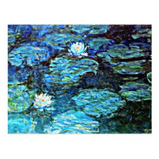 Monet - lirios de agua, azules tarjeta postal
