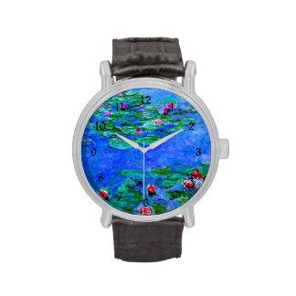 Monet - lirios de agua (rojos) reloj de mano