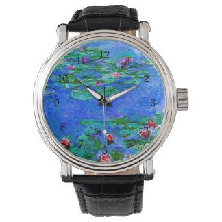 Monet - lirios de agua (rojos) relojes