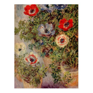 Monet, mit Anemonen um de Claude Stilleben C. 1885 Tarjeta Postal