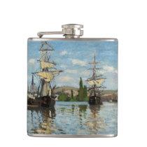 Monet Nautical Ships Ashore Flask