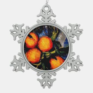 Monet - Orange Branch Bearing Fruit Snowflake Pewter Christmas Ornament