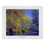 Monet painting bend in river Epte near Giverny Posters
