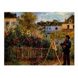 Monet painting in his garden by Claude Monet Postcard