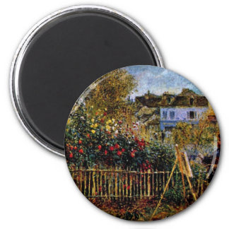 Monet Painting In His Garden In Argenteuil 2 Inch Round Magnet