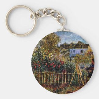 Monet Painting In His Garden In Argenteuil Keychains