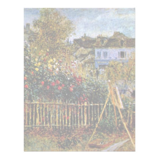 Monet Painting In His Garden In Argenteuil Customized Letterhead