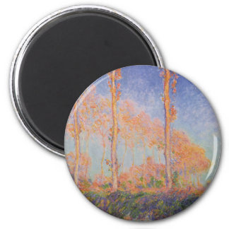 Monet Painting Poplars 2 Inch Round Magnet