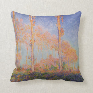 Monet Painting Poplars Throw Pillow