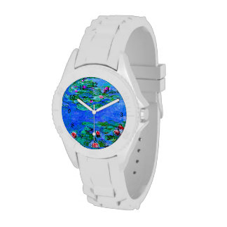 Monet painting: Water Lilies, Red artwork Wristwatch
