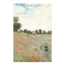 Monet Poppies Wildflowers Impressionism Stationery