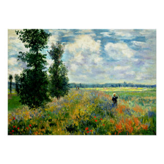 Monet - Poppy Field, Argenteuil Poster
