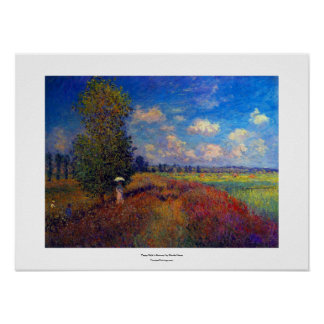 Monet poppy field summer impressionist painting poster