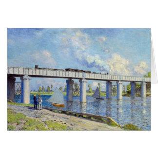 Monet - puente ferroviario en Argenteuil Tarjeta De Felicitación