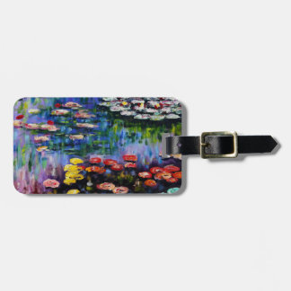 Monet Purple Water Lilies Luggage Tag