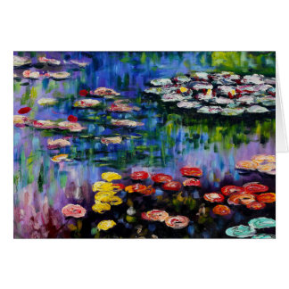 Monet Purple Water Lilies Note Card