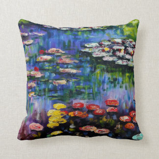 Monet Purple Water Lilies Pillow