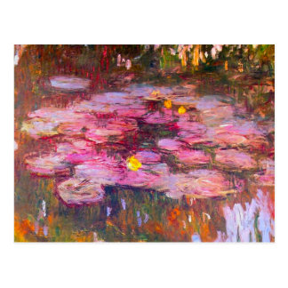 Monet Purple Water Lilies Postcard