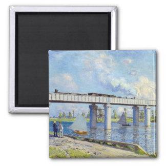 Monet - Railway Bridge at Argenteuil 2 Inch Square Magnet