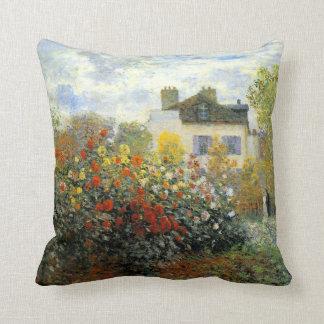 Monet Rose Garden Throw Pillow