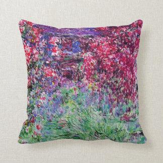 Monet Roses Throw Pillow