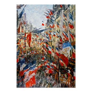 Monet: Rue Montorgueil, Decked Out With Flags Print