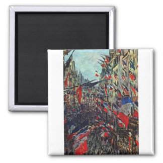 Monet - Rue Saint-Denis on the National Holiday 2 Inch Square Magnet
