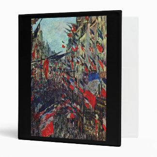Monet - Rue Saint-Denis on the National Holiday 3 Ring Binder