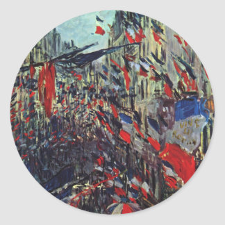 Monet - Rue Saint-Denis on the National Holiday Classic Round Sticker