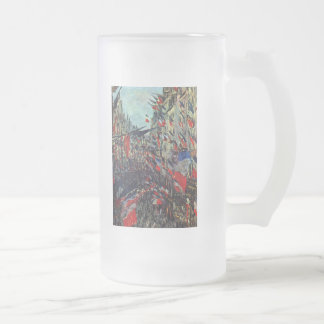 Monet - Rue Saint-Denis on the National Holiday Frosted Glass Beer Mug