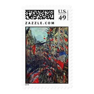 Monet - Rue Saint-Denis on the National Holiday Stamps