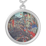 Monet - Rue Saint-Denis on the National Holiday Round Pendant Necklace