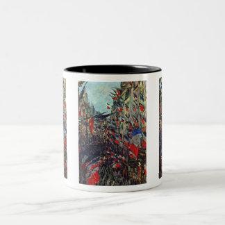 Monet - Rue Saint-Denis on the National Holiday Two-Tone Coffee Mug