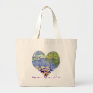 Monet's Water Lilies Large Tote Bag