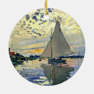 Monet - Sailboat at Le Petit-Gennevilliers Ceramic Ornament