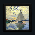 """Monet - Sailboat at Le Petit-Gennevilliers Jewelry Box<br><div class=""""desc"""">Claude Monet painting,  Sailboat at Le Petit-Gennevilliers,  gift box.  VIRGINIA5050,  custom-designed products and gifts at www.zazzle.com/virginia5050*,  PaulKleeGiftShop,  InternationalGifts,  RetirementGiftStore,  BirthdayGiftStore,  ILoveGiftStore,  and FloridaGiftStore.zazzle.com/FloridaGiftStore.</div>"""